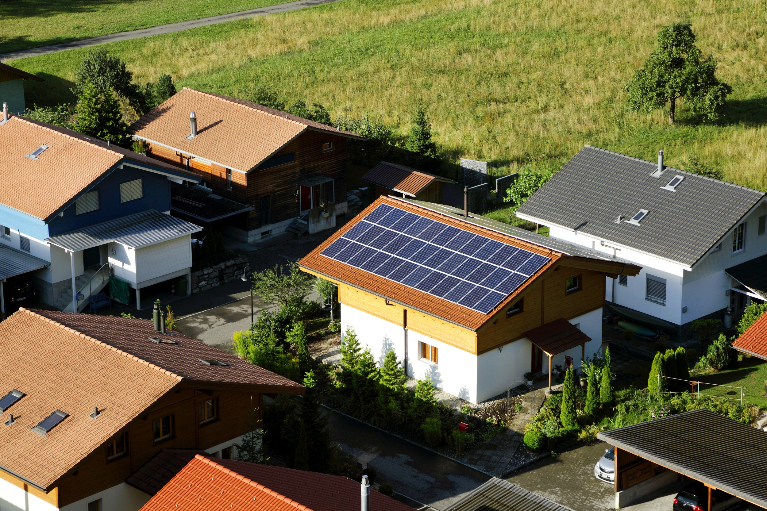 A building in Interlaken: an area of one million house roofs for solar panels will be required for the potential of solar energy to be exploited.