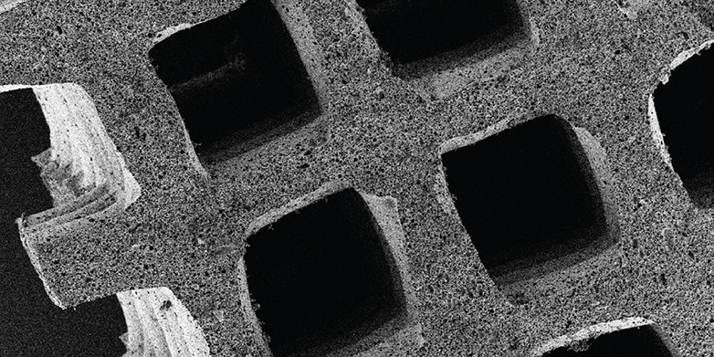 Under the electron microscope, the fine structure of the sorption material, which was produced using 3D printing, becomes visible: the pores of different sizes make the material much more efficient.