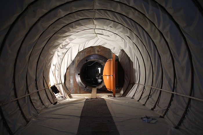 The inside of a compressed air reservoir – here, compressed air is stored in the mountain.