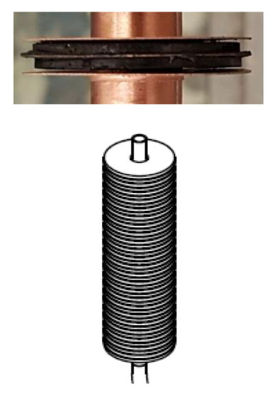 In the heat pump, the carbon discs are then glued between heat-conducting copper plates and stacked around the coolant pipe. The design of such heat exchanger elements is as important for the operation of the heat pump as the performance of the material.